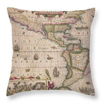 Antique Map Of America Throw Pillow by Jodocus Hondius