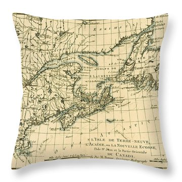 Antique Map Of Eastern Canada Throw Pillow by Guillaume Raynal