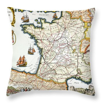 Antique Map Of France Throw Pillow by French School