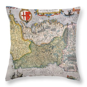 Antique Map Of Ireland Throw Pillow by  English School