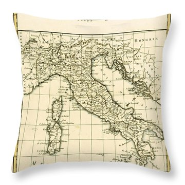 Antique Map Of Italy Throw Pillow by Guillaume Raynal