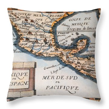 Antique Map Of Mexico Or New Spain Throw Pillow by French School