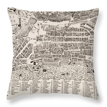 Antique Map Of Naples Throw Pillow by Italian School