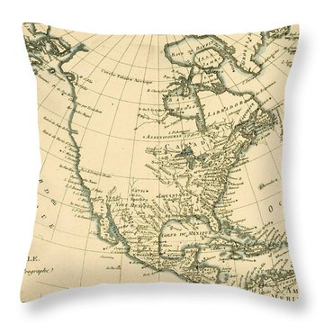 Antique Map Of North America Throw Pillow by Guillaume Raynal