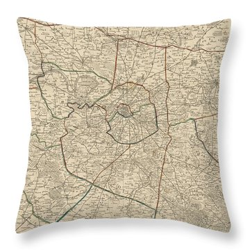 Antique Map Of Paris France And Surroundings By Jacques Esnauts - 1811 Throw Pillow