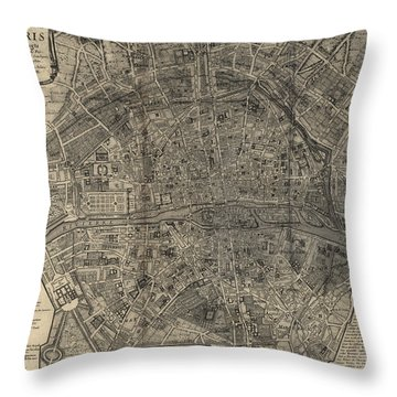 Throw Pillow featuring the drawing Antique Map Of Paris France By Nicolas De Fer - 1705 by Blue Monocle