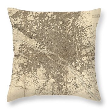 Throw Pillow featuring the drawing Antique Map Of Paris France By The Society For The Diffusion Of Useful Knowledge - 1834 by Blue Monocle