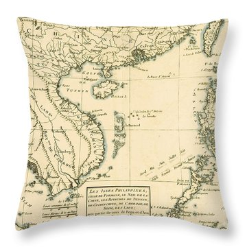 Antique Map Of South East Asia Throw Pillow by Guillaume Raynal