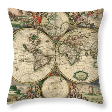 Antique Map Of The World - 1689 Throw Pillow