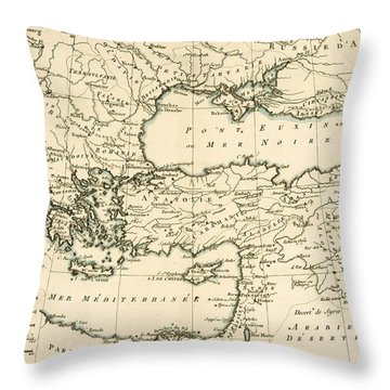 Antique Map Of Turkey Throw Pillow by Guillaume Raynal