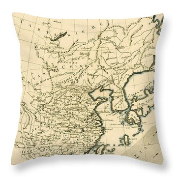 Antique Map The Chinese Empire Throw Pillow by Guillaume Raynal