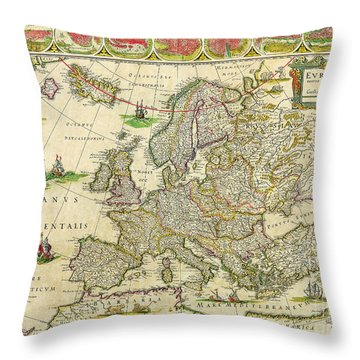Antique Maps Of The World Map Of Europe Willem Blaeu C 1650 Throw Pillow