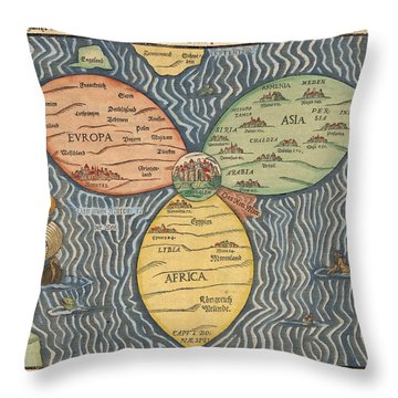 Antique Maps - Old Cartographic Maps - Antique Clover Leaf Map Of Europe, Asia And Africa Throw Pillow