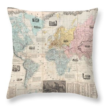 Old World Vintage Cartographic Maps Throw Pillows