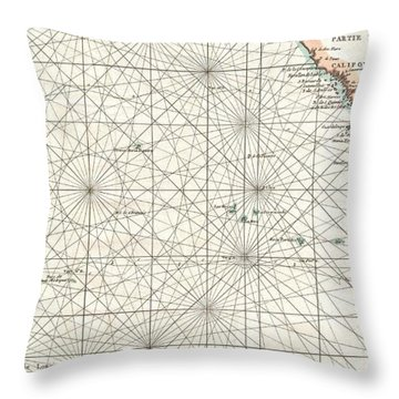 Antique Maps - Old Cartographic Maps - Antique Map Of Baja California, Pacific Trade Routes, 1750 Throw Pillow