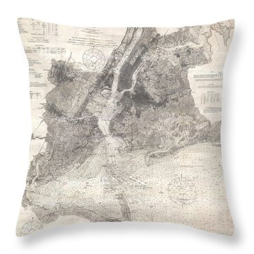 Antique Maps - Old Cartographic Maps - Antique Map Of New York Bay And Harbor, 1910 Throw Pillow