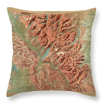 Antique Maps - Old Cartographic Maps - Relief Map Of Glacier National Park, Montana Throw Pillow