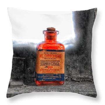 Antique Mercurochrome Hynson Westcott And Dunning Inc. Medicine Bottle - Maryland Glass Corporation Throw Pillow