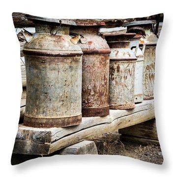 Antique Milk Cans Throw Pillow