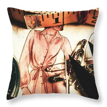 Antique Needlework Throw Pillow