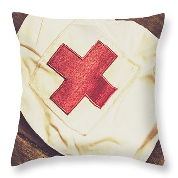 Antique Nurses Hat With Red Cross Emblem Throw Pillow
