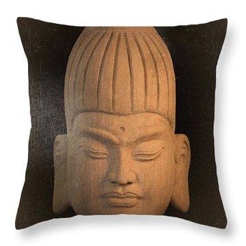 antique oil effect Buddha Burmese Throw Pillow by Terrell Kaucher