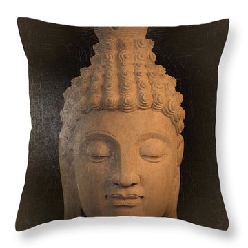 antique oil effect Buddha Sukhothai Throw Pillow by Terrell Kaucher