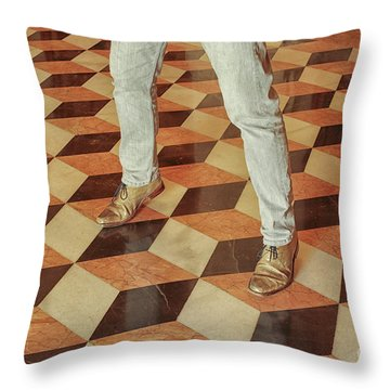 Throw Pillow featuring the photograph Antique Optical Illusion Floor Tiles by Patricia Hofmeester