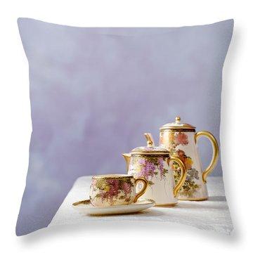 Antique Oriental Teaset Throw Pillow