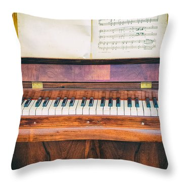 Throw Pillow featuring the photograph Antique Piano And Music Sheet by Silvia Ganora