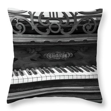 Antique Piano Black And White Throw Pillow
