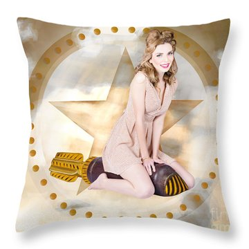 Antique Pin-up Girl On Missile. Bombshell Blond Throw Pillow by Jorgo Photography - Wall Art Gallery