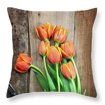Throw Pillow featuring the photograph Antique Scissors And Bouguet Of Tulips by Stephanie Frey