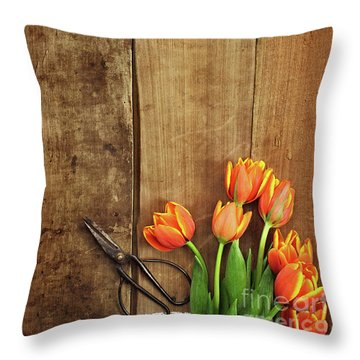 Throw Pillow featuring the photograph Antique Scissors And Tulips by Stephanie Frey