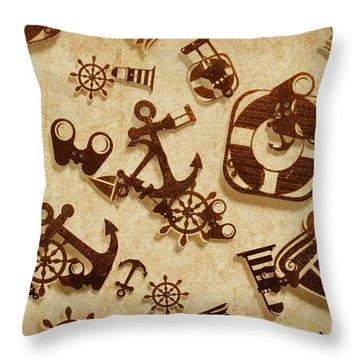 Antique Seaside Design Throw Pillow