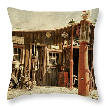 Antique Service Station Throw Pillow