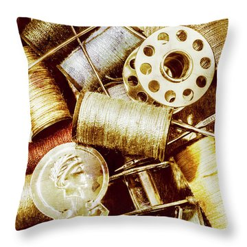 Throw Pillow featuring the photograph Antique Sewing Artwork by Jorgo Photography - Wall Art Gallery