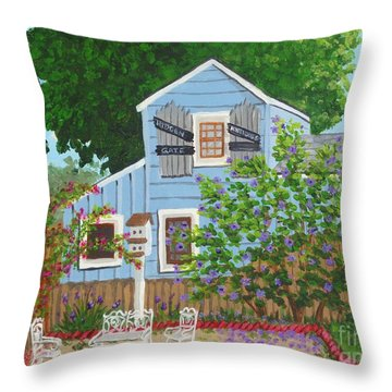 Throw Pillow featuring the painting Antique Shop, Cambria Ca by Katherine Young-Beck