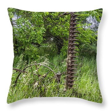 Antique Sickle Bar Throw Pillow