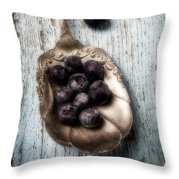 Antique Spoon And Buleberries Throw Pillow by Garry Gay