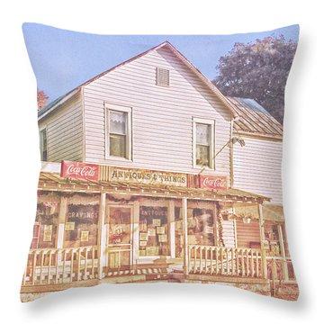 Antique Store, Colonial Beach Virginia Throw Pillow