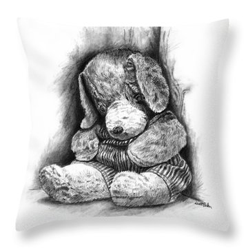 Antique Stuffed Animal Throw Pillow