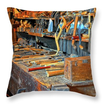 Antique Tool Bench Throw Pillow