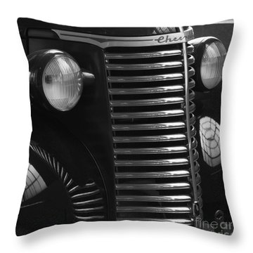 Antique Truck Black And White Throw Pillow by Wilma  Birdwell