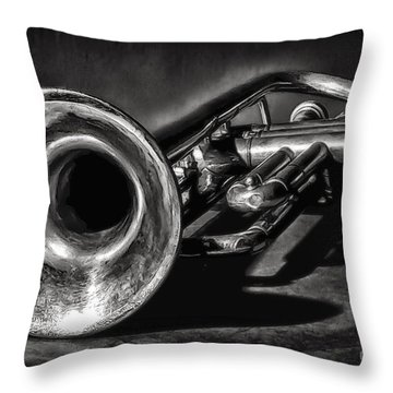 Antique Trumpet 1 Throw Pillow by Walt Foegelle