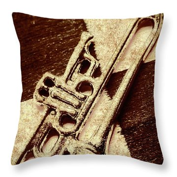 Antique Trumpet Club Throw Pillow