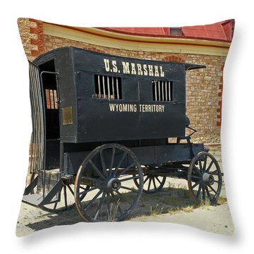 Antique U.s Marshalls Wagon Throw Pillow by Sally Weigand