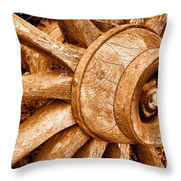Antique Wagon Wheel - Sepia Throw Pillow