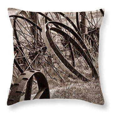 Antique Wagon Wheels II Throw Pillow by Tom Mc Nemar