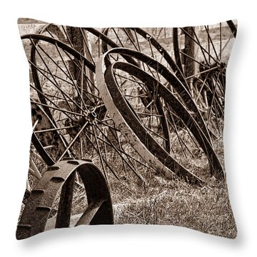 Antique Wagon Wheels II Throw Pillow